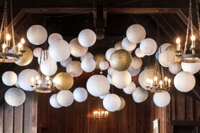 Metallic lanterns - Gold and silver paper lanterns
