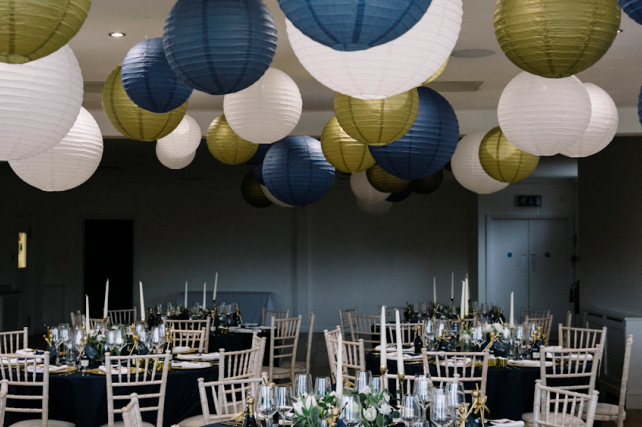 Navy and gold luxe wedding lanterns