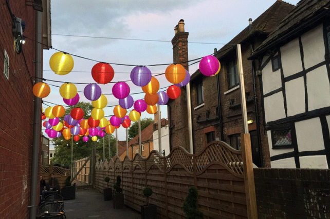 Colourful Outdoor Lanterns brighten up The Hive Bar in Crawley