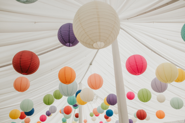 Paper lantern canopy at Narborough Hall Gardens, Norfolk