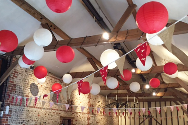 Sussex wedding lanterns at Upwaltham Barns