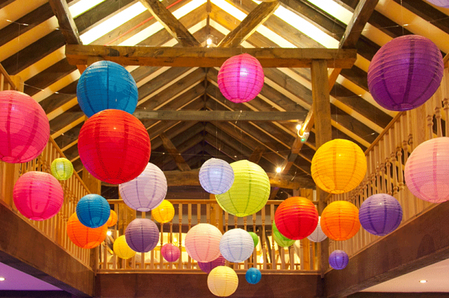 bright paper wedding lanterns