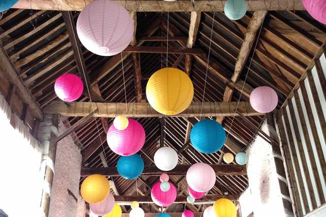 bright mad hatters decorations and paper lanterns