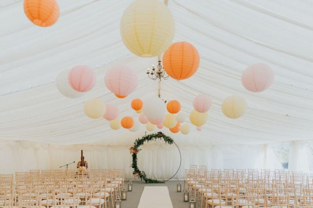 Pastel coloured paper lantern installation