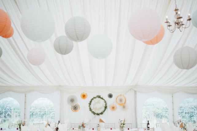 Pastel wedding lantern canopy