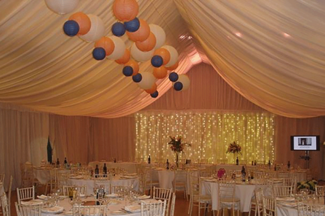 peach and blue paper wedding lanterns