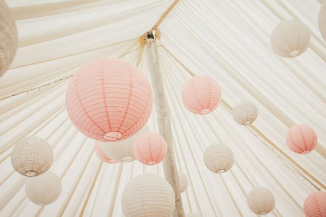 Pink white and lace lanterns