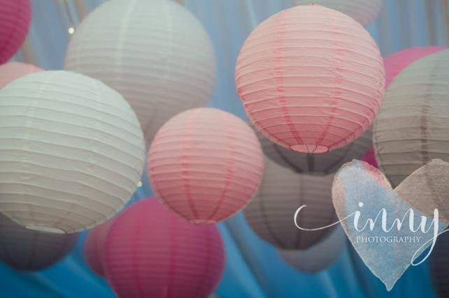Pink and grey paper hanging lanterns