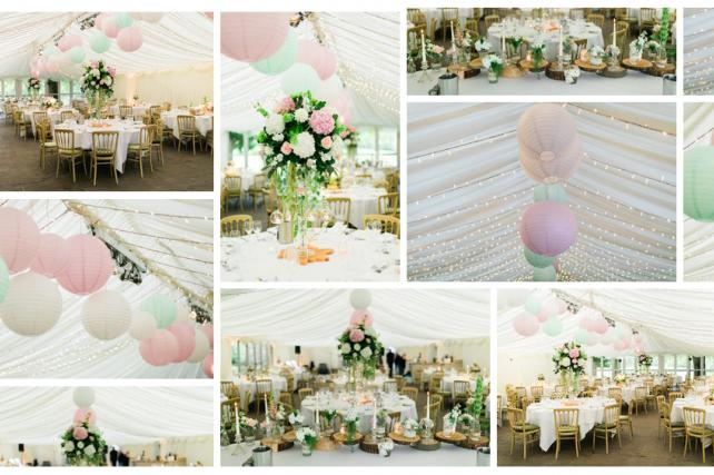 Pink and mint coloured wedding lanterns