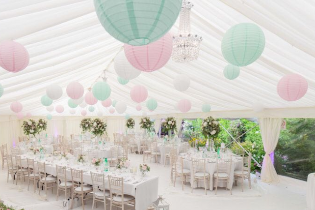 Pink and mint paper lanterns