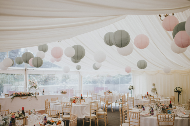 Pink and sage paper hanging lanterns