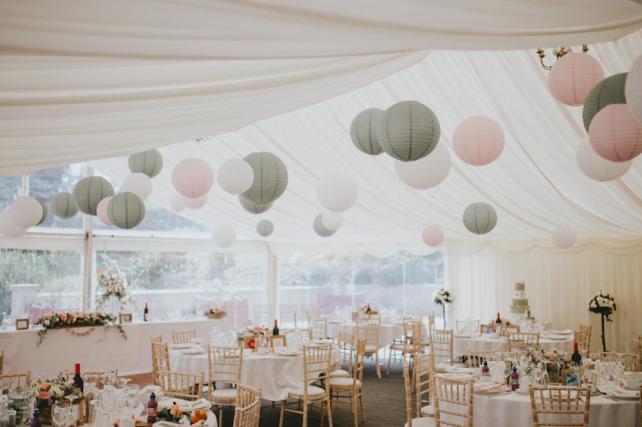 Pink and sage paper hanging lanterns
