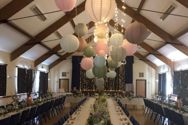 Pink sage and cream paper lanterns