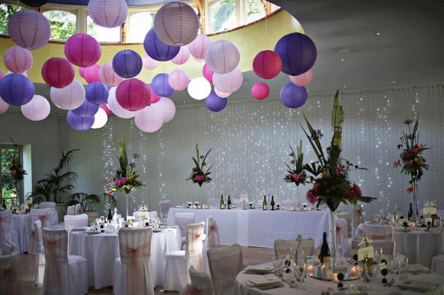 Girly Pink and Purple Wedding Lanterns