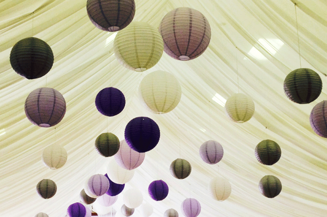 Purple and Silver paper chinese lanterns