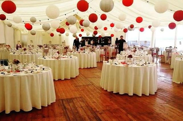 Red and Silver Hanging Lanterns