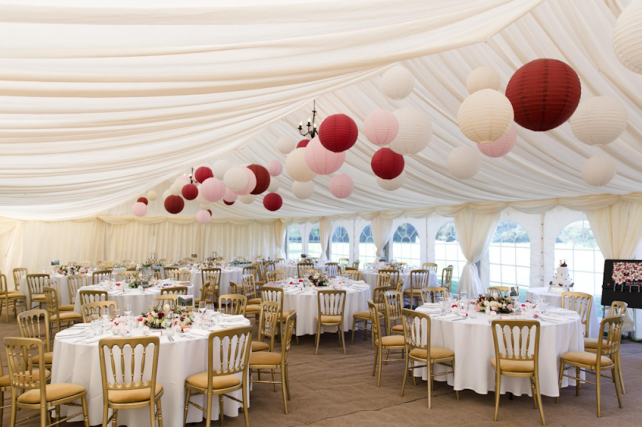 Rich red and soft pink paper lanterns