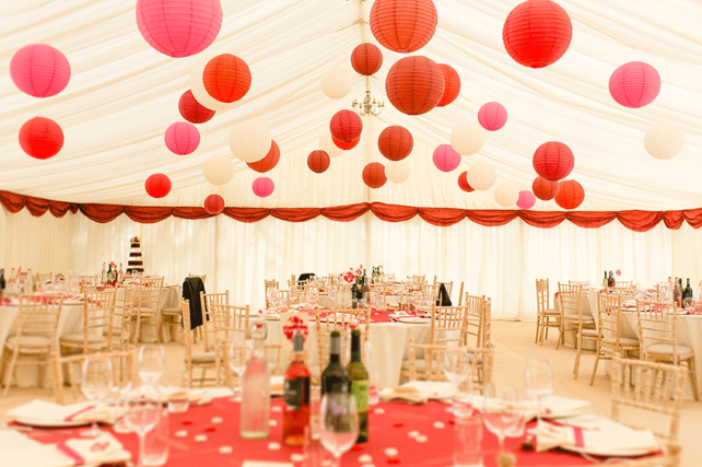 Romantic Red Wedding Lanterns at a Kent Countryside Farm