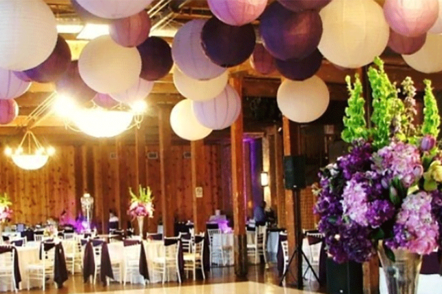 purple paper Chinese wedding lanterns