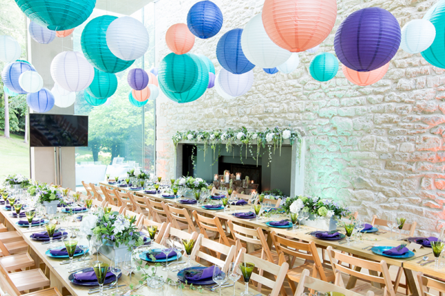 Modern Coloured Lanterns at Garden Style Soiree