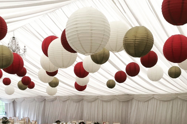 Rich red and gold marquee lanterns
