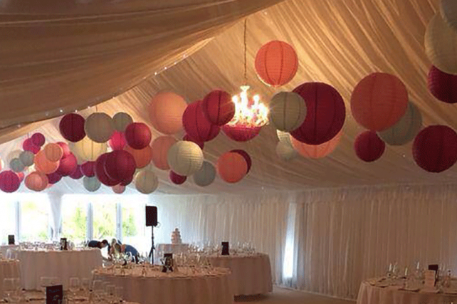 pink and Grey wedding paper lanterns