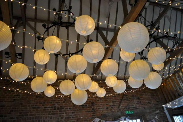 White rustic wedding lanterns