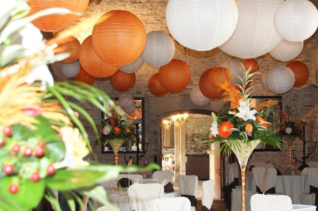 Orange and white rustic Chinese paper lanterns