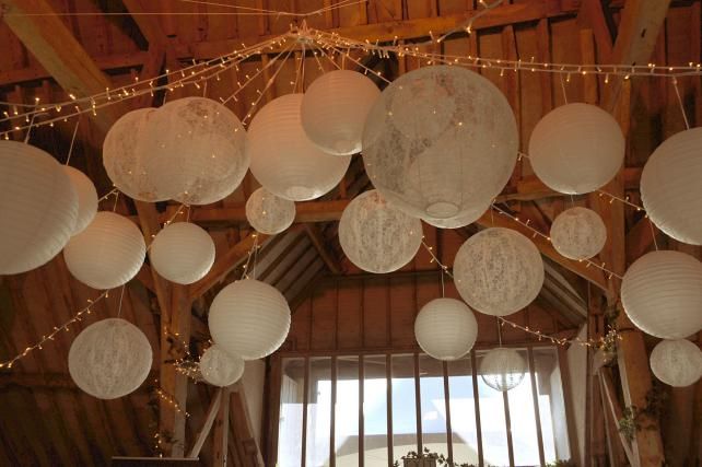 Rustic Paper and lace lanterns