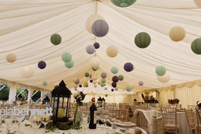 Wedding Lanterns Decorate a Secret Garden Style Marquee