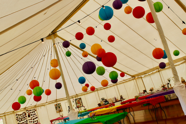 Traditional marquee decorated with Paper Lanterns