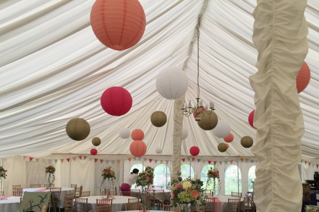 Traditional Marquee decorated with Coral Paper Lanterns