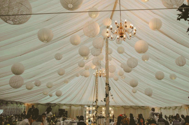 White and lace lanterns at Enterkine House, Scotland