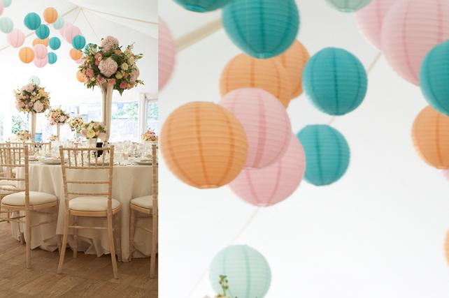 paper lanterns and wedding flowers