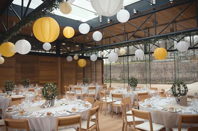 Spring coloured hanging lanterns at Utopia, Broughton Hall
