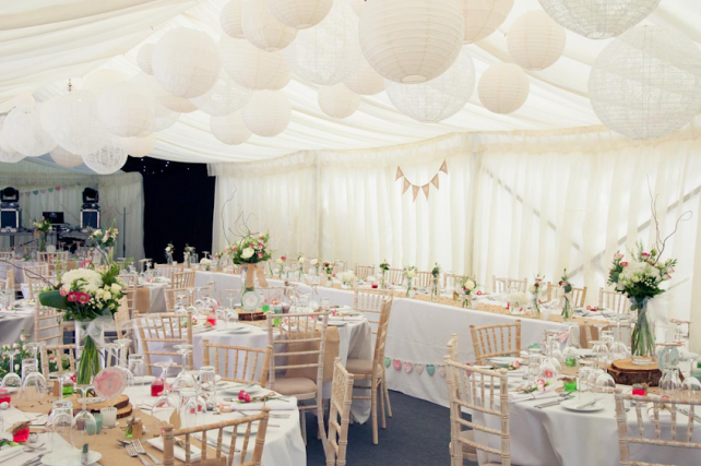 White and ivory marquee wedding lanterns