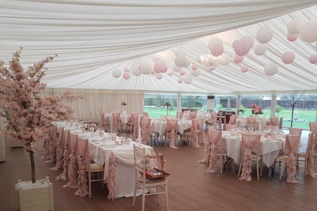 White and pink marquee wedding lanterns