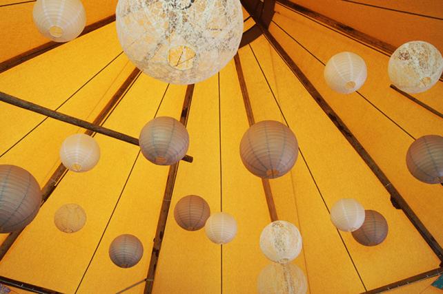 Lace wedding lanterns