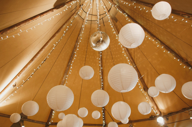 White Lanterns Decorate Giant Tipi Tents at Camp Katur