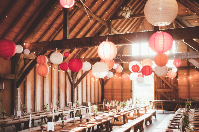 Autumnal wedding lanterns at The Yoghurt Rooms