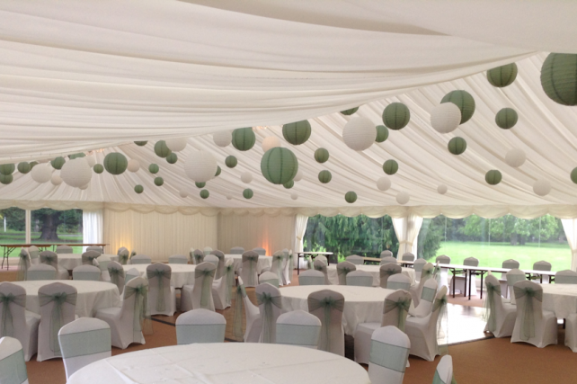 Sage and cream Scottish Wedding lanterns
