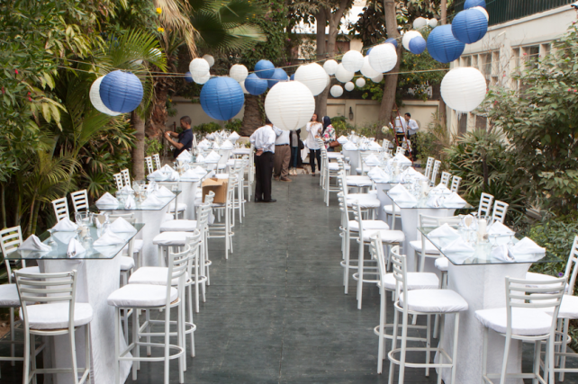 Blue and white outdoor wedding lanterns