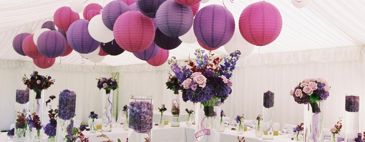 Purple And Violet Hanging Paper Lanterns