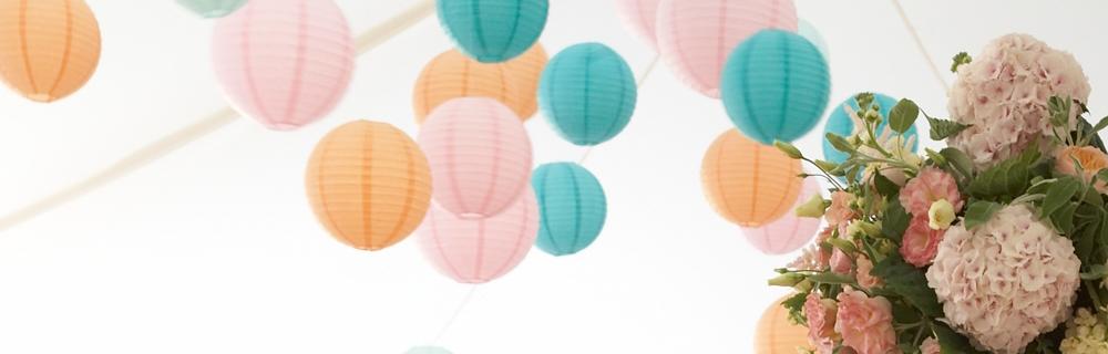 Pastel hanging paper lanterns