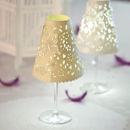 Ivory cream wine glass shade with Buttonlite