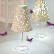 Butterfly wine glass shade in white