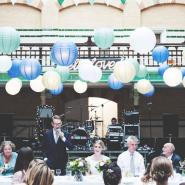 Green and Blue Paper Lantern Canopy
