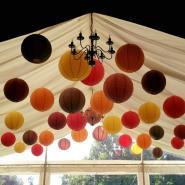 Rich autumnal coloured hanging lanterns