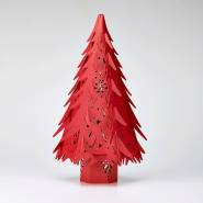 Red paper Illuminated Christmas Tree