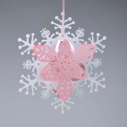 White and pink floral snowflake Christmas snowflake lanterns